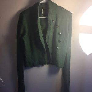 Free people green button cardigan